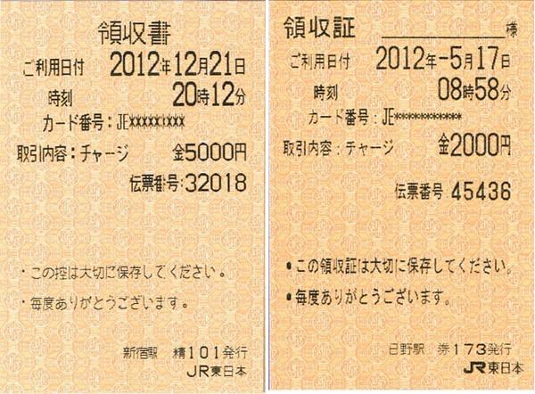 JR東日本 Suicaチャージ領収書: マル鉄コレクション館